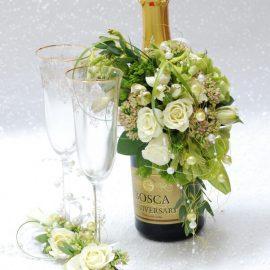 заказать свадебное ОФОРМЛЕНИЕ бутылок ЦВЕТАМИ