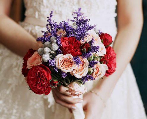 купить Букет невесты в фиолетовых оттенках