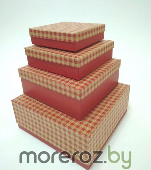 коробки подарочные квадратные клетка