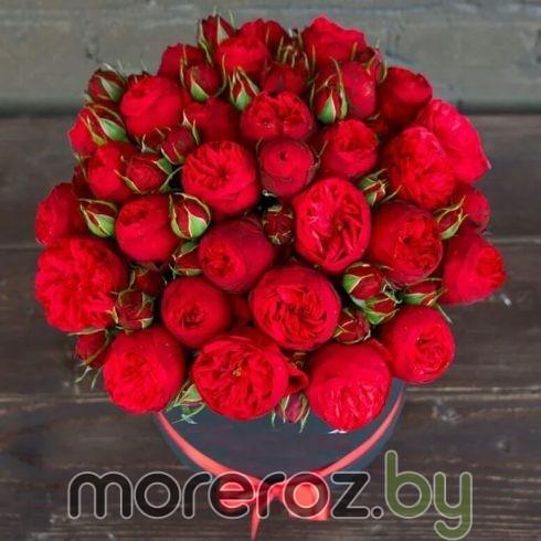 купить пионовидные розы Пиано Рэд в шляпной коробке