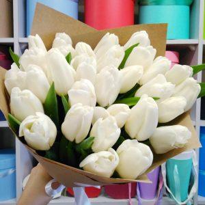 """Букет белых тюльпанов """"Пломбир"""""""