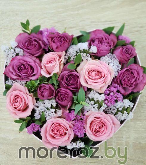 "Коробка ""Сердце"" с кустовыми розами"