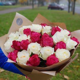 """Букет """"29 бело-розовых роз"""""""