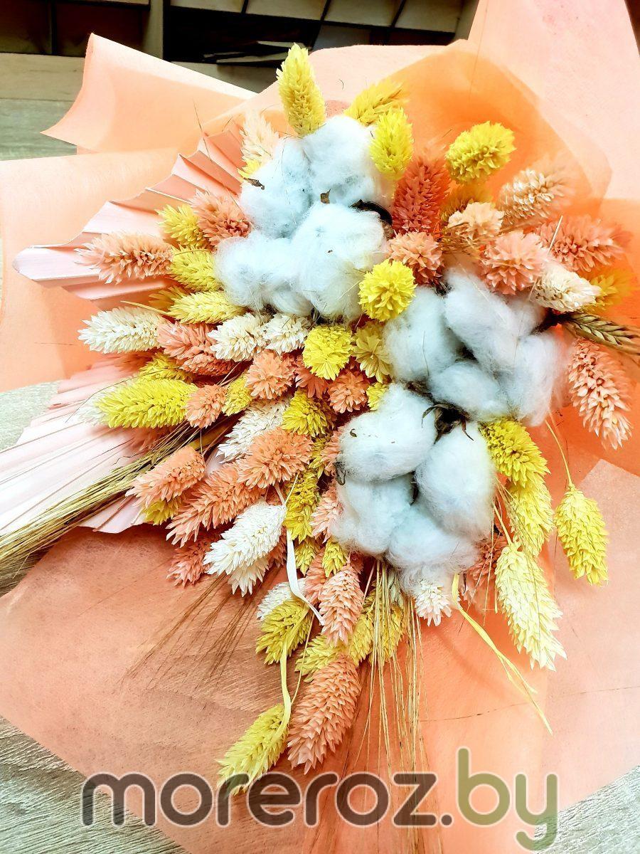 "Букет сухоцветов ""Персики на снегу"""