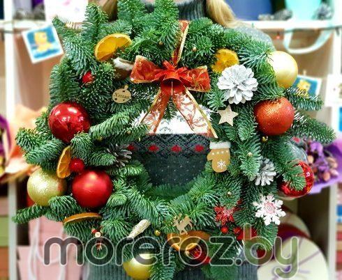 """Венок из живой пихты """"Рождественское чудо"""""""