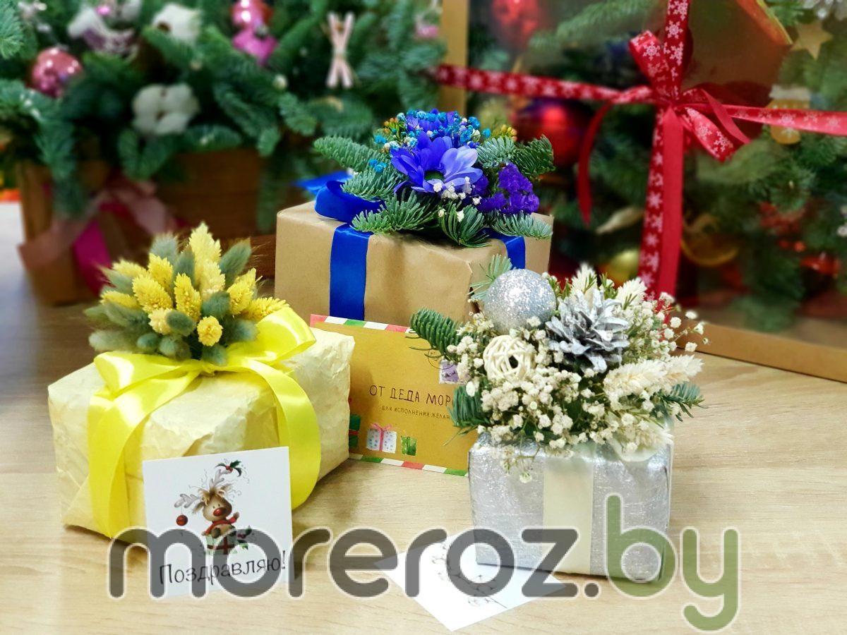 Оформление подарков живыми цветами и сухоцветами