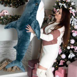 "Мягкая игрушка ""Акула"" морская волна 140 см"