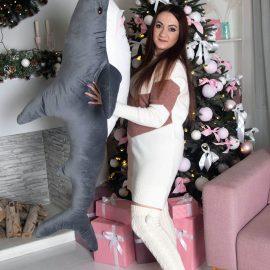 """Мягка игрушка """"Акула""""серая 140 см"""