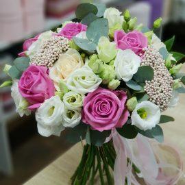 """Букет невесты с розами """"Аква"""""""