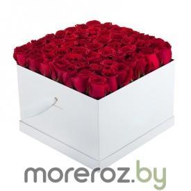 купить красные розы в квадратной черной коробке